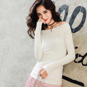 七格格长袖t恤女一字领外穿2017秋装新款韩版修身时尚百搭内搭打底上衣