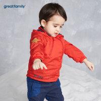 歌瑞家婴儿梭织外套红色2017冬装新款男小童连帽长袖外套上衣乐友