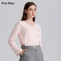 Five Plus2019新款女春装V领套头针织衫女长袖打底衫刺绣卡通徽章