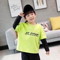 童装男童长袖T恤纯棉撞色洋气儿童假两件打底衫
