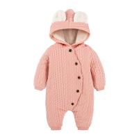 婴儿连体衣服0岁3个月9新生儿2宝宝秋冬装爬服男女棉衣哈衣外出服