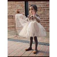 冬装新款加绒加厚连衣裙新年圣诞款木耳边丝绒公主裙童裙