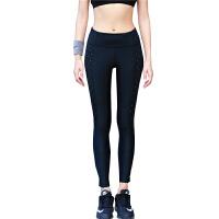 夏季新款运动裤女星辰三维反光夜跑高弹力健身服加厚保暖紧身裤运动长裤 黑色