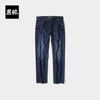 黑鲸 HLAJEANS复古磨白牛仔裤男2019秋季新品男装直筒裤子男