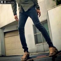 秋冬季韩国男装休闲款深灰色铅笔牛仔裤子潮流显瘦小脚裤修身长裤 帅气深灰