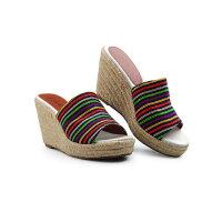 伊贝拉(YI-BELLA)女拖甜美百搭简约舒适甜美森女环保坡跟拖鞋女鞋
