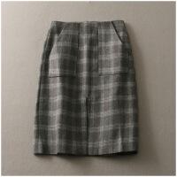 春季宽松中长裙加厚开叉高腰个性毛呢半身裙女23159