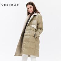 预售-音儿 2017冬季新款气质时尚西装领中长款羽绒服女