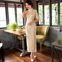 秋季新款时尚复古长款旗袍 修身蕾丝改良礼服宴会走秀旗袍裙