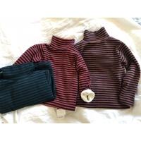 男女童宝宝加绒条纹高领打底衫保暖上衣 秋冬新款儿童纯棉长袖T恤