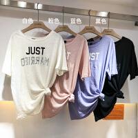 韩国ulzzang2018春装新款做旧字母印花圆领短袖T恤宽松糖果色上衣