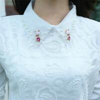 韩观大码女装T恤2017秋装新款修身加绒蕾丝网纱打底衫上衣长袖小衫潮 XL 115-125斤