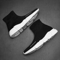 男童鞋新款秋季高帮飞织中大童运动鞋女童弹力袜子鞋