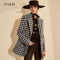 【�A估�r291】Amii�O��凸徘�B格毛呢西�b外套2020冬新款�赓|�p排扣女呢子大衣