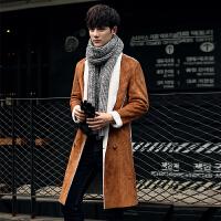 2017秋冬新款风衣男外套韩版皮毛一体修身长款大衣中长款英伦披风