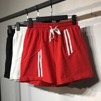 运动短裤女夏韩版松紧腰宽松阔腿裤条纹卷边裤