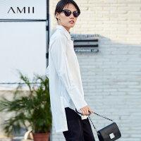 AMII极简chic大码毛边polo衫女2018秋新纯色长袖宽松中长衬衫.