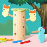 啄木鸟捉虫子益智玩具宝宝男孩女孩小孩儿童钓鱼磁性抓虫