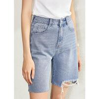 【到手价:126元】Amii极简时尚个性牛仔短裤女2020夏季新款直筒破洞水洗做旧牛仔裤