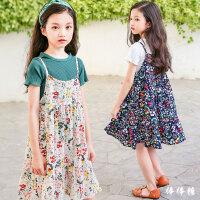 童装女童夏装2018新款韩版洋气碎花连衣裙中大儿童吊带裙套装