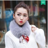 女生甜美可爱丝带保暖皮草毛领韩版围巾女狐狸毛围脖百搭加厚短款