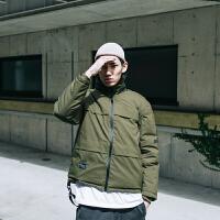 日系潮牌冬季户外可拆卸袖运动棉衣男青年街头保暖外套
