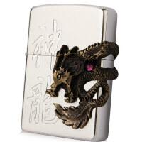芝宝Zippo打火机 镀银雕刻贴章镶嵌 36100神龙 2006年独立编号限量款 金龙