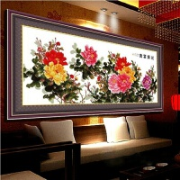 印花十字绣六尺牡丹花开富贵 牡丹花十字绣新款客厅2米大幅系列