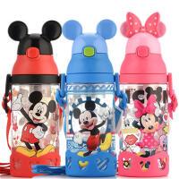 ����水杯迪士尼�和�水�叵募拘�W生��吸管杯米奇防漏耐摔塑料水瓶