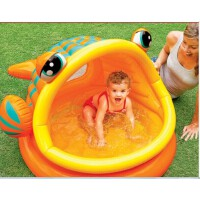 INTEX 57109大嘴鱼充气游泳池圆形遮阳戏水池婴儿浴盆 海洋球池