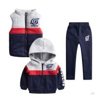 男童冬装套装大童装男孩运动秋装儿童卫衣三件套加绒加厚