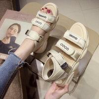 新款松糕厚底凉鞋女时尚外穿运动凉鞋女 韩版学生平底女士沙滩鞋子小熊凉鞋女