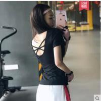 性感美背瑜伽服运动短袖女带胸垫紧身上衣健身房专业跑步t恤