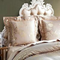 欧式床头靠垫套抱枕套60*60不含芯一对 靠背靠枕贡缎沙发大抱枕套 卡其色 金色流年-金驼