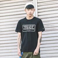 夏季潮流T恤男短袖日系字母印花上衣学生潮流打底衫体恤男