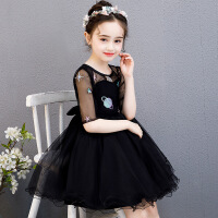 2019春季新款女童公主裙婚纱礼服蓬蓬纱生日钢琴表演裙黑色连衣裙