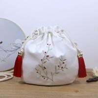 原创中国古风包包刺绣铃兰手机包袋单肩斜挎帆布包汉服刺绣荷包女