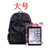 新款韩版牛津布尼龙双肩包女轻便帆布背包书包简约妈咪包g 黑色-大号