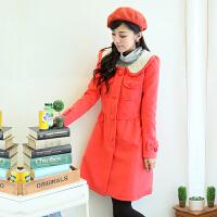 大码女装冬装新款韩版娃娃领外套大衣风衣