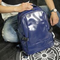 双肩包男士纯色商务背包旅游旅行电脑包运动休闲韩版潮大学生书包 帅气蓝色 背后PU皮