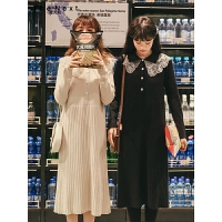 蕾丝长袖连衣裙2019冬季新款女气质韩版复古高腰显瘦学生中长裙子