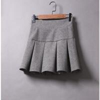 秋冬新款高腰毛呢短裙女防走光加厚呢子百褶裙松紧腰半身裙子