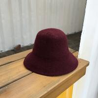 秋冬羊毛混纺渔夫帽男女潮韩版英伦小礼帽可折叠光板盆帽保暖帽子 M(56-58cm)