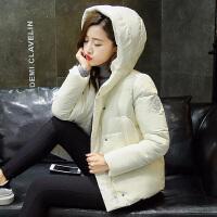 温暖新款短款时尚简约修身女士连帽休闲棉服百搭外套保暖女棉衣多色潮流