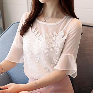 AGECENTRE 2018夏季新款韩版圆领雪纺衫修身短袖假两件套打底衫女