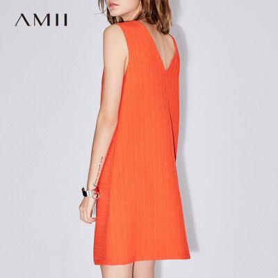 Amii极简小心机香风无袖连衣裙2018夏新款女装露背A字中长连衣裙.