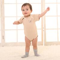 新生婴儿连体衣宝宝三角哈衣春夏打底款包屁包臀纯棉有机彩棉爬服