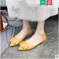 浅口尖头单鞋女平底仙女风温柔鞋新款ins小香风豆豆鞋潮