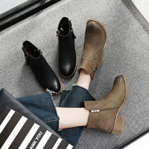 毅雅2017秋冬新款短靴女中跟韩版女马丁靴粗跟防滑侧拉链裸靴YM7WO7217