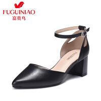 富贵鸟潮流时尚头层羊皮尖头中空女单鞋一字扣带女鞋